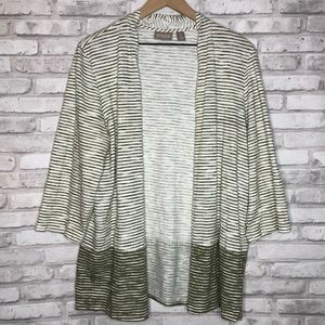 Chico's Sweaters - Chico's lightweight striped cardigan xl/16/3 green